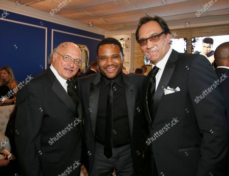 Dennis Franz, from left, Anthony Anderson, and Jimmy Smits pose backstage at the 68th Primetime Emmy Awards in the Chase Sapphire Reserve Blue Room, at the Microsoft Theater in Los Angeles