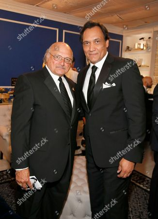 Dennis Franz, left, and Jimmy Smits pose backstage at the 68th Primetime Emmy Awards in the Chase Sapphire Reserve Blue Room, at the Microsoft Theater in Los Angeles