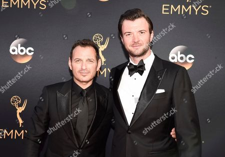 Lev Gorn, left, and Costa Ronin arrive at the 68th Primetime Emmy Awards, at the Microsoft Theater in Los Angeles