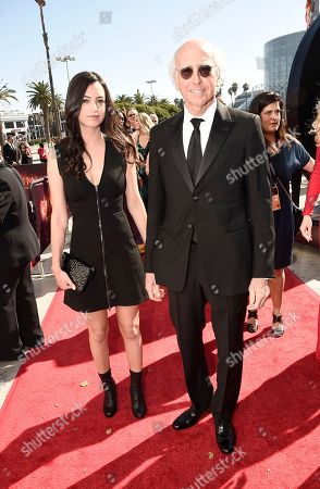 Larry David, right, and Cazzie David arrive at the 68th Primetime Emmy Awards, at the Microsoft Theater in Los Angeles