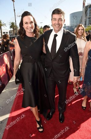 Kyle Chandler, right, and Kathryn Chandler arrive at the 68th Primetime Emmy Awards, at the Microsoft Theater in Los Angeles