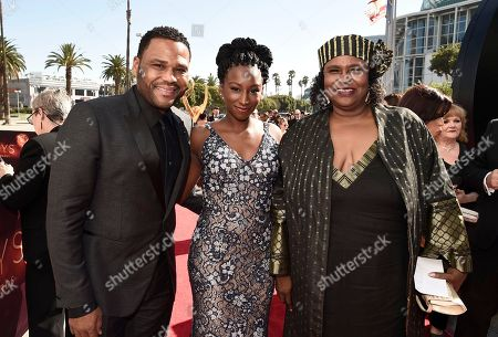 Anthony Anderson, from left, Kyra Anderson, and Doris Hancox arrive at the 68th Primetime Emmy Awards, at the Microsoft Theater in Los Angeles