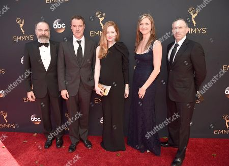Mandy Patinkin, from left, Sebastian Koch, Miranda Otto, Sarah Sokolovic, and Mark Ivanir arrive at the 68th Primetime Emmy Awards, at the Microsoft Theater in Los Angeles