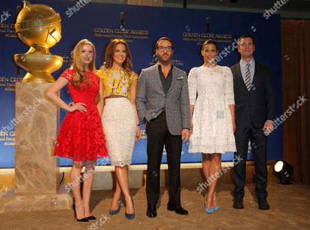 Miss Golden Globe Greer Grammer, from left, Kate Beckinsale, Jeremy Piven, Paula Patton and Peter Krause appear on stage at the 72nd annual Golden Globe Awards nominations announcement at the Beverly Hilton hotel, in Beverly Hills, Calif. The 72nd annual Golden Globe Awards will be held on Sunday, Jan. 11, 2015