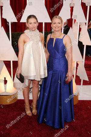 Stock Image of Cathleen Sutherland, right, and guest arrive at the Oscars, at the Dolby Theatre in Los Angeles