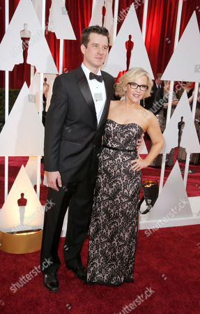 Christian Hebel, left, and Rachael Harris arrives at the Oscars, at the Dolby Theatre in Los Angeles