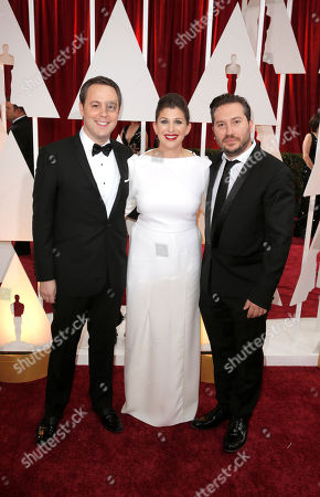 From left, Ido Ostrowsky, Nora Grossman, and, Teddy Schwarzman arrive at the Oscars, at the Dolby Theatre in Los Angeles