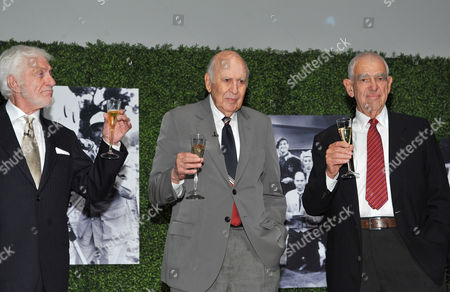 "OCTOBER 13: (L-R) Actor Dick Van Dyke, honoree Carl Reiner and writer Bill Persky onstage at the Academy of Television Arts & Sciences Presents: ""An Evening Honoring Carl Reiner"" at the Leonard H. Goldenson Theatre on in North Hollywood, California"