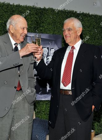 "OCTOBER 13: (L-R) Honoree Carl Reiner and writer Bill Persky onstage at the Academy of Television Arts & Sciences Presents: ""An Evening Honoring Carl Reiner"" at the Leonard H. Goldenson Theatre on in North Hollywood, California"