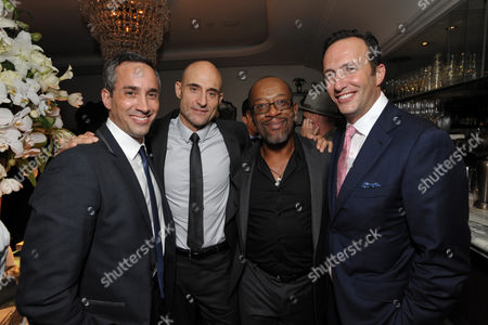 From left, head of creative affairs, Endemol Studios Jeremy Gold, actors Mark Strong, Lennie James and president of AMC, Charlie Collier attend AMC's 'Low Winter Sun' premiere screening on in Los Angeles