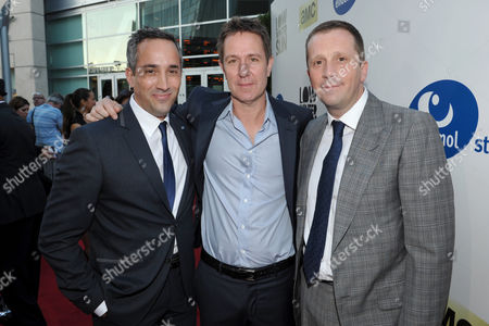 From left, head of creative affairs, Endemol Studios Jeremy Gold, writer/executive producer/show runner Chris Mundy and CEO, Endemol Studios Philippe Maigret arrive to AMC's 'Low Winter Sun' premiere screening on in Los Angeles