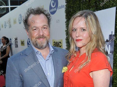 Actors David Costabile, left, and Eliza Baldi arrive to AMC's 'Low Winter Sun' premiere screening on in Los Angeles