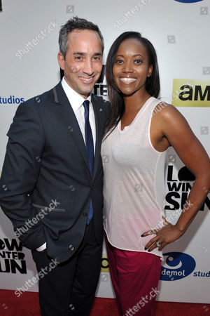Head of Creative Affairs, Endemol Studios Jeremy Gold, left, and actress Erika Alexander arrive to AMC's 'Low Winter Sun' premiere screening on in Los Angeles