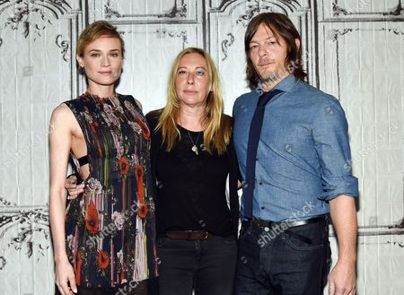 """Actor Diane Kruger, from left, director Fabienne Berthaud and actor Norman Reedus pose at AOL's BUILD Speaker Series to discuss the film """"Sky"""" at AOL Studios, in New York"""