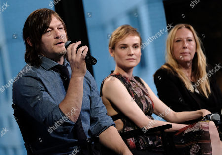 """Actors Norman Reedus, from left, Diane Kruger and director Fabienne Berthaud participate in AOL's BUILD Speaker Series to discuss the film """"Sky"""" at AOL Studios, in New York"""