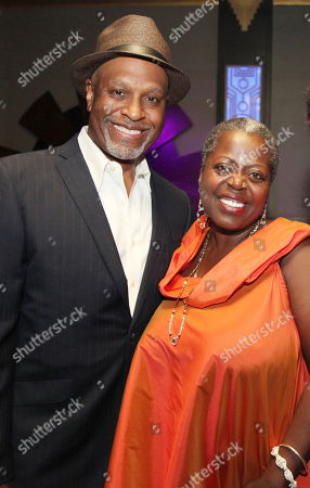 """From left, James Pickens, Jr. and cast member Lillias White pose during the party for the opening night performance of August Wilson's """"Joe Turner's Come and Gone"""" at CTG/Mark Taper Forum, in Los Angeles, Calif"""