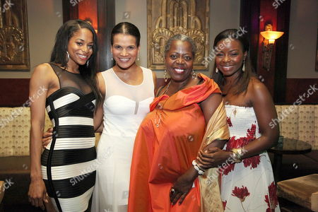 """From left, cast members Vivian Nixon, January LaVoy, Lillias White and Erica Tazel pose during the opening night performance of August Wilson's """"Joe Turner's Come and Gone"""" at CTG/Mark Taper Forum, in Los Angeles, Calif"""