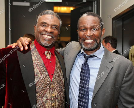 """From left, cast members Keith David and John Douglas Thompson pose backstage after the opening night performance of August Wilson's """"Joe Turner's Come and Gone"""" at CTG/Mark Taper Forum, in Los Angeles, Calif"""
