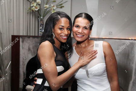 """From left, cast members Vivian Nixon and January LaVoy pose during the party for the opening night performance of August Wilson's """"Joe Turner's Come and Gone"""" at CTG/Mark Taper Forum, in Los Angeles, Calif"""
