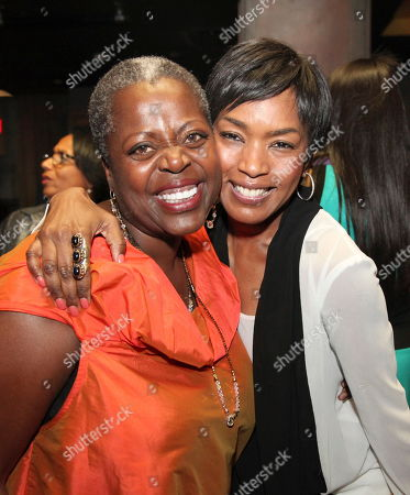 """From left, cast member Lillias White and actress Angela Basssett pose during the party for the opening night performance of August Wilson's """"Joe Turner's Come and Gone"""" at CTG/Mark Taper Forum, in Los Angeles, Calif"""