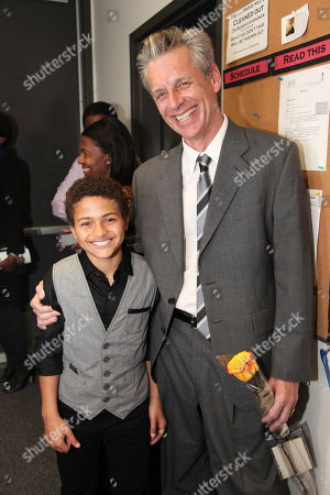 """From left, cast member Nathaniel James Potvin and CTG Artistic Director Michael Ritchie pose backstage after the opening night performance of August Wilson's """"Joe Turner's Come and Gone"""" at CTG/Mark Taper Forum, in Los Angeles, Calif"""