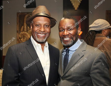 """From left, James Pickens, Jr. and cast member John Douglas Thompson pose during the party for the opening night performance of August Wilson's """"Joe Turner's Come and Gone"""" at CTG/Mark Taper Forum, in Los Angeles, Calif"""