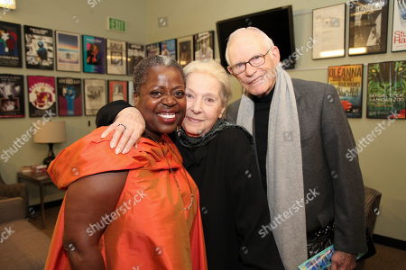 """From left, cast member Lillias White poses with Marilyn Bergman and Alan Bergman backstage after the opening night performance of August Wilson's """"Joe Turner's Come and Gone"""" at CTG/Mark Taper Forum, in Los Angeles, Calif"""