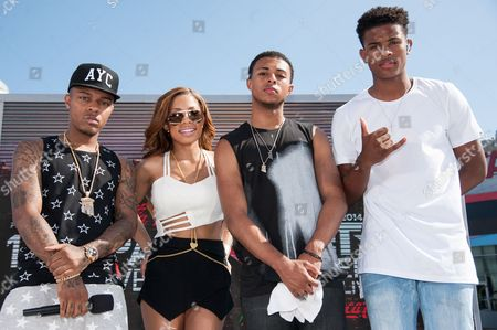 From left, Bow Wow, Keshia Chante, Diggy Simmons, and Trevor Jackson appear onstage at the BET Experience - 106 and Park Live, in Los Angeles
