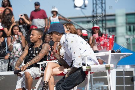From left, Bow Wow, Keshia Chante, and August Alsina appear onstage at the BET Experience - 106 and Park Live, in Los Angeles