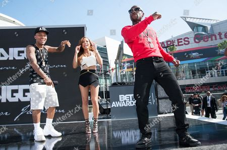 From left, Bow Wow, Keshia Chante, and Floyd Mayweather Jr. appear onstage at the BET Experience - 106 and Park Live, in Los Angeles