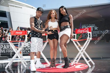 From left, Bow Wow, Keshia Chante, and Sevyn Streeter appear onstage at the BET Experience - 106 and Park Live, in Los Angeles