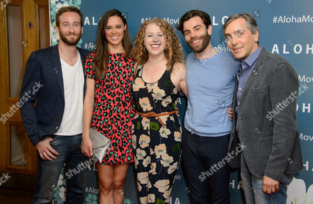 Members from the cast of Elephant Man Eric Clem, Emma Thorne, Amanda Lea Mason, Chris Bannow and Scott Lowell pose for photographers upon arrival at the UK premiere of Aloha at a central London venue