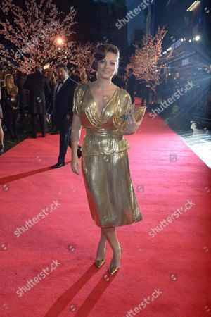 """Stock Image of Sarah Owen arrives at the 57th BFI London Film Festival Closing Night and """"Saving Mr Banks"""" screening at the Odeon West End,, in London"""
