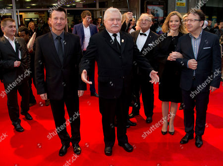 Former President of Poland and politican, Lech Walesa, centre, the subject of the film, and Polish actor Robert Wieckiewicz, centre left, arrive for the screening of Walesa: Man Of Hope, as part of the 57th BFI London Film Festival, at a central London cinema