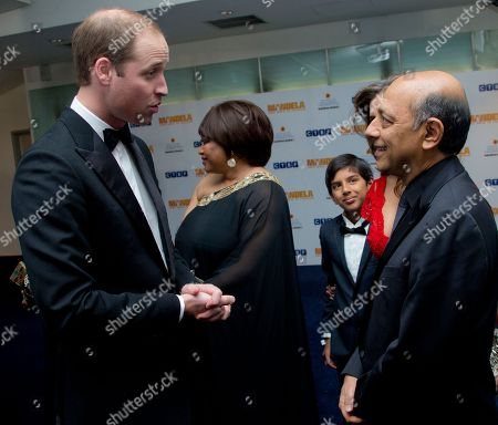 The Duke of Cambridge meets Producer Anant Singh ahead of the UK Premiere of the Long Walk to Freedom, a film based on the South African President Nelson Mandela's autobiography of the same name, to the Odeon cinema in Leicester Square, central London