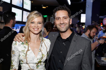 Amy Smart and Director Jay Karas seen at Broad Green Pictures Special Screening of 'Break Point' after party at TCL Chinese Theatre, in Hollywood, CA