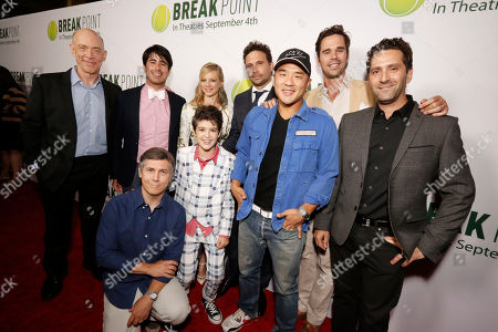 J. K. Simmons, Daniel Hammond, Broad Green Pictures Chief Creative Officer, Chris Parnell, Amy Smart, Joshua Rush, Jeremy Sisto, Writer/Co-producer Gene Hong, David Walton and Director Jay Karas seen at Broad Green Pictures Special Screening of 'Break Point' at TCL Chinese Theatre, in Hollywood, CA