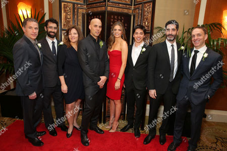 Stock Image of Producer Pierre Even, Director/Producer Ariel Nasr, Producer Marie-Claude Poulin, Director Kim Nguyen, Stana Katic, Director/Producer/Writer/Actor Yan England, Producer Mino Jarjoura and Composer Mychael Danna at The Canadian Consulate Pre Oscar Luncheon for the 2013 Academy Awards, on Thursday, Feb., 21, 2013 in Beverly Hills