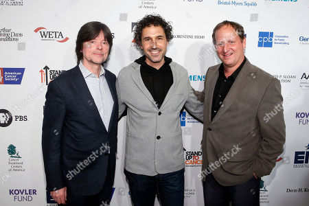 From left, executive producer Ken Burns, Ethan Zohn, and filmmaker Barak Goodman attend CANCER: THE EMPEROR OF ALL MALADIES screening at Jazz at the Lincoln Center on in New York