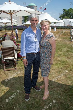 Damon Hill and Lady March at the Cartier 'Style et Luxe' on the private lawn of Goodwood House during Goodwood Festival of Speed in West Sussex on