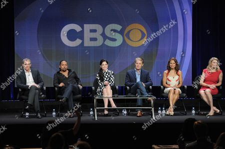 "From left, executive producer Kevin Falls, Felix Solis, Janet Montgomery, Kyle MacLachlan, Toni Trucks and creator/co-executive producer Dana Calvo participate in the CBS ""Made In Jersey"" TCA panel on in Beverly Hills, Calif"