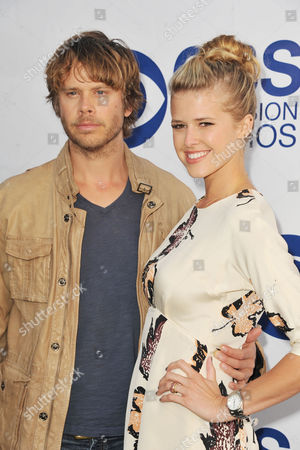 Eric Christian Olsen, at left, and Sarah Wright arrive at CBS Television Studios Summer Soiree at The London Hotel on in Los Angeles