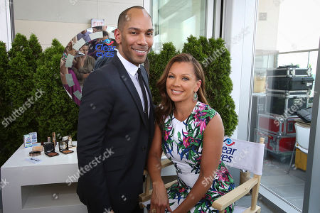 Stock Photo of Renowned celebrity makeup artist Sam Fine and award winning actress and singer Vanessa Williams pose at a Clear Eyes event in New York City on