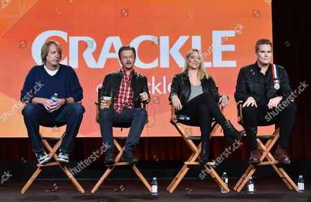 """Director/co-writer/executive producer Fred Wolf, from left, David Spade, Brittany Daniel, and Mark McGrath speak at the Crackle Winter TCA panel of """"Joe Dirt 2: Beautiful Loser"""" produced by Happy Madison Productions at the Langham Hotel, in Pasadena, Calif"""