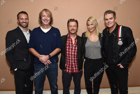 """EVP of Digital Networks at Sony Pictures Television and GM of Crackle Eric Berger, from left, director/co-writer/executive producer Fred Wolf, David Spade, Brittany Daniel and Mark McGrath attend the Crackle Winter TCA panel of """"Joe Dirt 2: Beautiful Loser"""" produced by Happy Madison Productions at the Langham Hotel, in Pasadena, Calif"""