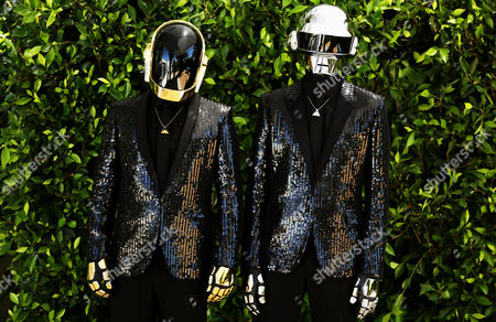 Thomas Bangalter, right, and Guy-Manuel de Homem-Christo, from the group Daft Punk pose for a portrait on in Los Angeles