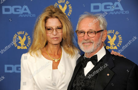 Norman Jewison, right, and Lynne St. David arrive at the 65th Annual Directors Guild of America Awards at the Ray Dolby Ballroom, in Los Angeles