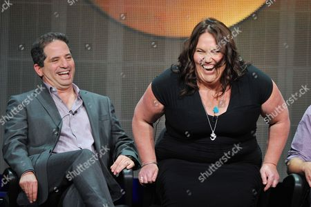 Stock Image of Producer David Zabel (L) and actress Lorraine Bruce attend the Disney/ABC Television Group's 2013 Summer TCA panel at the Beverly Hilton Hotel on in Beverly Hills, Calif