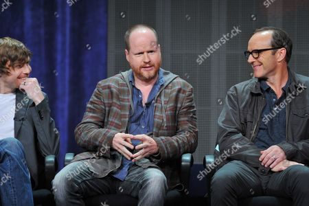 Producers Jed Whedon and Josh Whedon and actor Clark Gregg attend the Disney/ABC Television Group's 2013 Summer TCA panel at the Beverly Hilton Hotel on in Beverly Hills, Calif