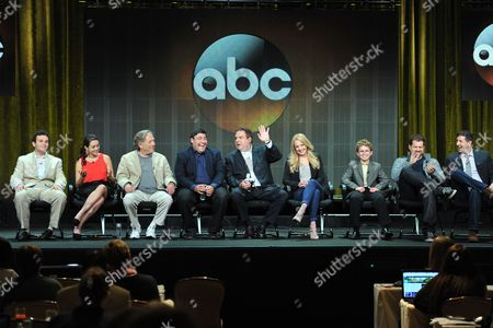 """The Goldbergs"""" cast and crew ( L-R): Troy Gentile, Hayley Orrantia, George Segal, Adam F. Goldberg, Jeff Garlin, Wendi McLendon-Covey, Sean Giambrone, Seth Goron and Doug Robinson attend the Disney/ABC Television Group's 2013 Summer TCA panel at the Beverly Hilton Hotel on in Beverly Hills, Calif"""